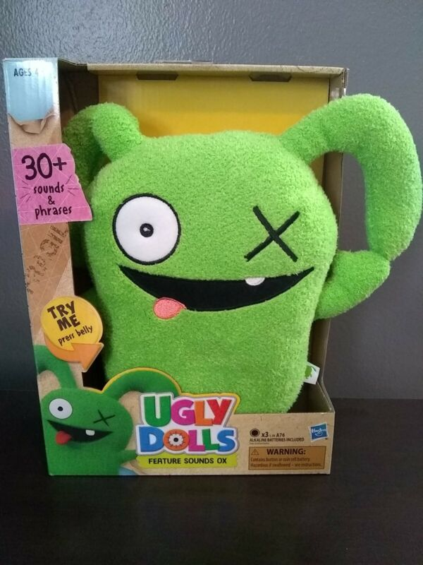 Ugly Dolls Movie Feature Sounds OX Green Plush 30 Sounds Phrases Talks NEW Works