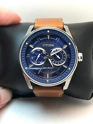 Mens Citizen Eco-Drive Brown Leather Blue Dial Day and Date Watch BU4020-01L-H17