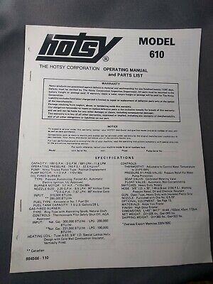 Hotsy Model 610 Parts List Operating Owners Manual Original