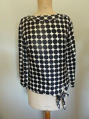 Hoss Intropia - Silk Blouse with Large Black Polka Dots - Size 38