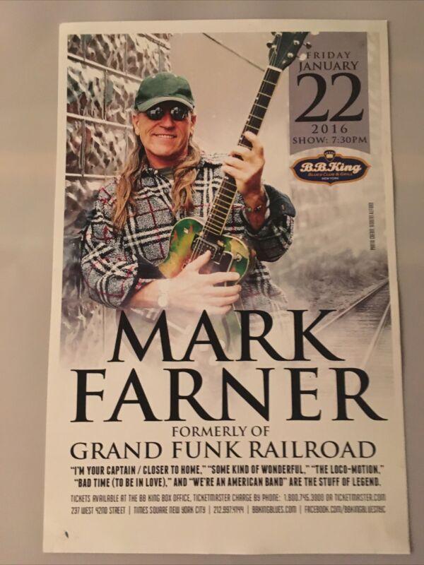 Grand Funk Railroad Mark Farner BB Kings Nyc Promotional Poster 17 x 11