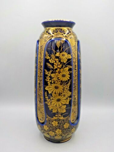 "Stunning 11.75"" Japan Cobalt Blue & Gold Porcelain Flower Vase Daisy Signed Exc!"