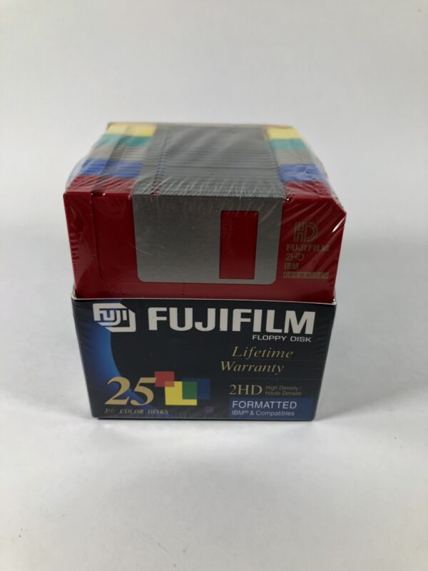 "*SEALED* 25 pack Fujifilm 3.5"" Floppy Disk 2HD High Density IBM Formatted 1.44MB"
