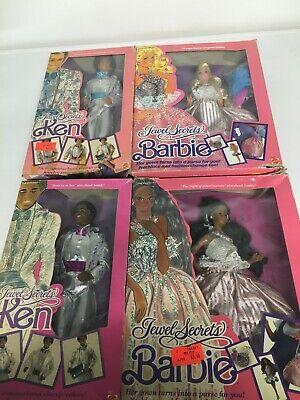 Vintage Jewel Secrets Barbie Ken Caucasian & AA NRFB  1986 4 Dolls -Damaged Box