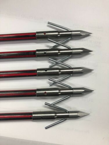 5 Red Fire Bowfishing Arrows Pirahna Point With Cajun Slide, Muzzy Style