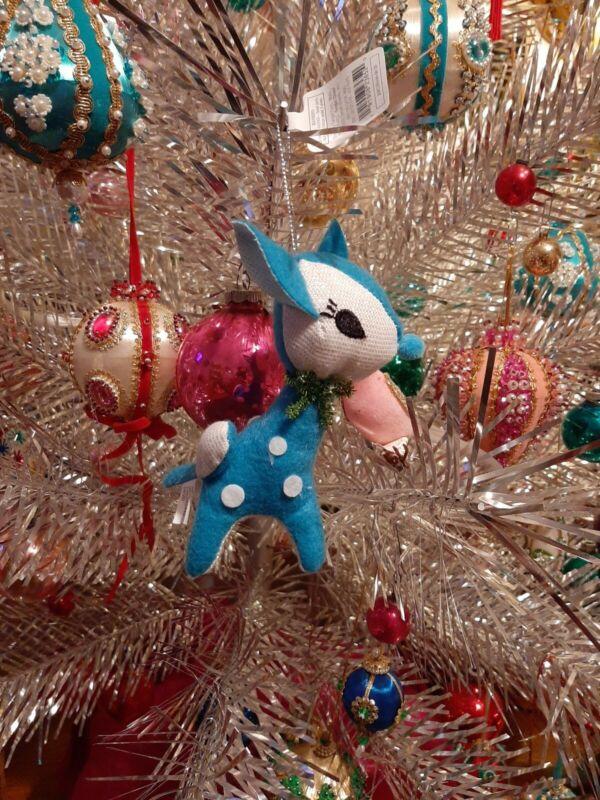 Target Wondershop Teal Retro Vintage Fabric Felt Deer Fawn Ornaments NWT