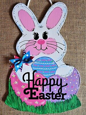 HAPPY EASTER Bunny Rabbit SIGN Wall Art Door Decor Hanger PLAQUE Seasonal Spring