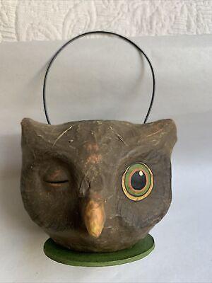 "Halloween Owl Basket Bethany Lowe Designs w/ Sticker 3"" #H"