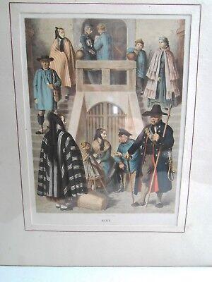 Harz Tracht -  Original-Lithographie 1868 Albert Kretschmer Trachten