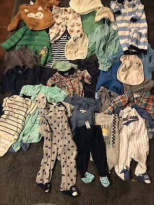 baby boy clothes 3-6 months lot-30 Pc-pants, Bodysuits, Shorts, Shirts, Sleepers