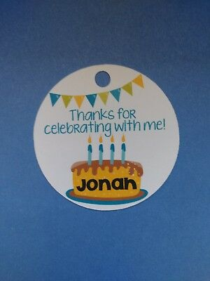 12 Personalized Custom Birthday Party Favor Tags. Boys cake candles blue - Party Favor Candles