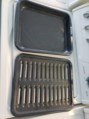 Broiler Broil Pan Rack Porcelain Large for Range Oven Stove for Range (clean)
