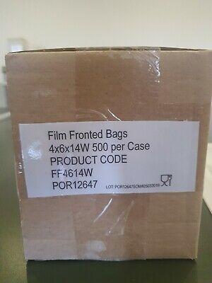 500 Film Front White Paper Bags! | Cellophane/Window/ baguette shape. 14 X 6 X 4