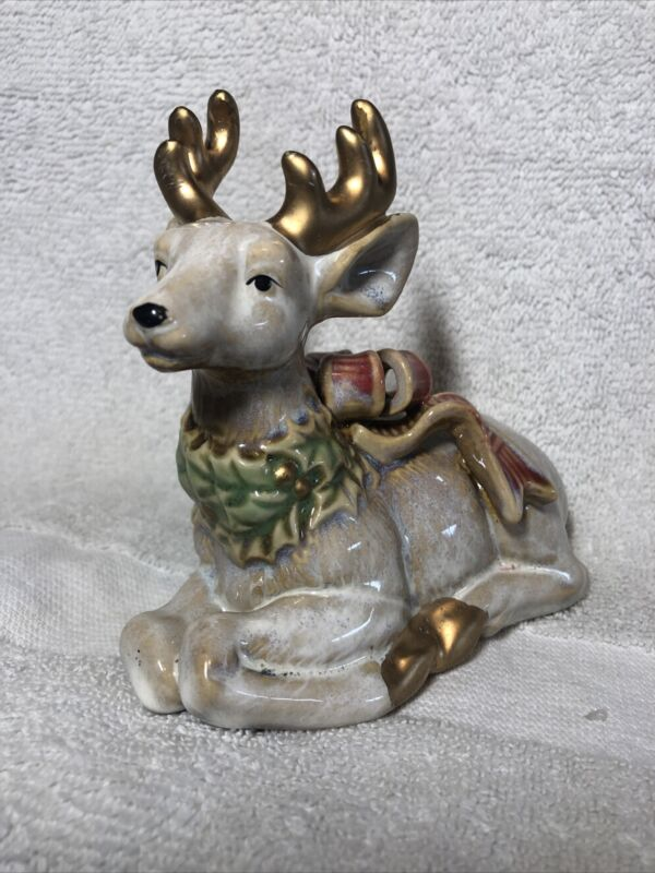 Deer With Wreath Around Neck And Beautiful Large Bow