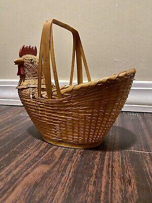 Vintage Chicken Rooster Wicker Basket