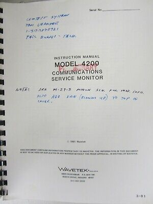 Wavetek Model 4200 Communications Service Monitor Instruction Manual