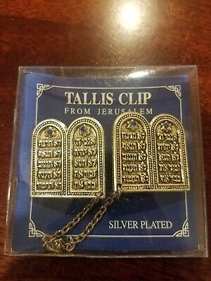 Tallit Prayer Shawl Clips Silver Plated 10 COMMANDMENTS Tallis Talis Talit (Silver Tallit Clips)
