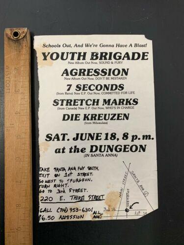 Vtg Punk Flyer Youth Brigade Agression 7 Seconds Stretch Marks Die Kreuzen