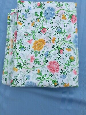 Percale Bedding Flat Sheets (VTG JC Penney's Percale Blue Yellow Pink Floral 81
