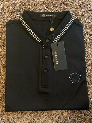 Versace T-shirt black polo slim fit large lopel  medusa logo Nwt