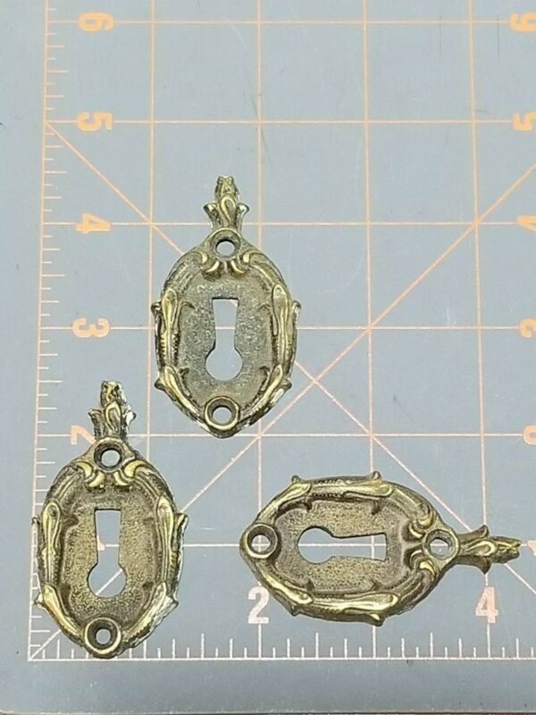 3 Vintage Brass Escutcheon Plate For a Door Key Stamped Penn RB 502 1/2