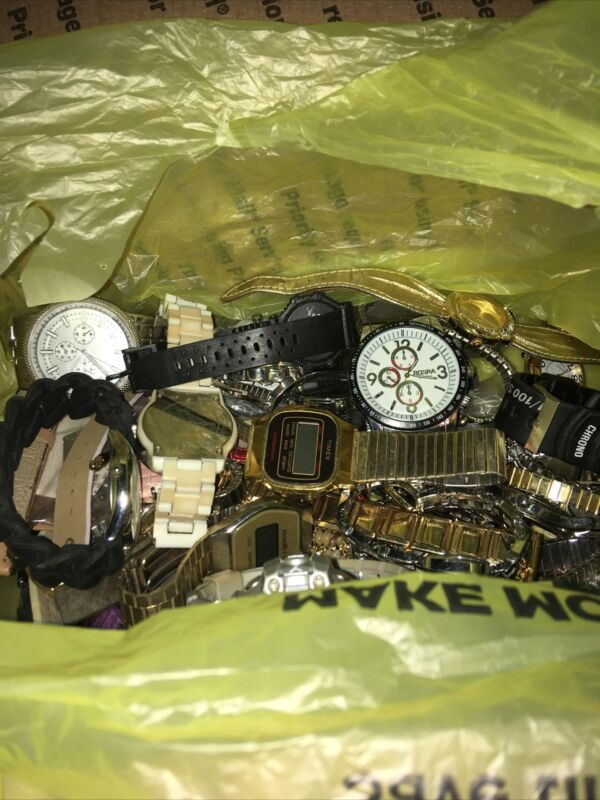 Watch Lot 4 Pounds of Untested Watches, Bands, Parts, Repair, Resale or Wear !