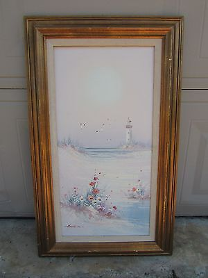 """Vintage Henderson Hand Painted Seagull Lighthouse Ocean on (24"""" x 12"""") Canvas"""