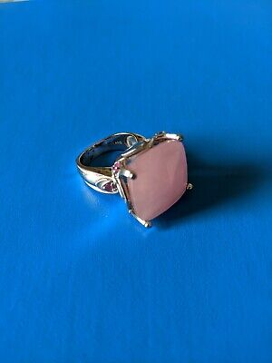 HSN Square Rose Quartz  Sterling Silver Ring Size 5.5 or 6