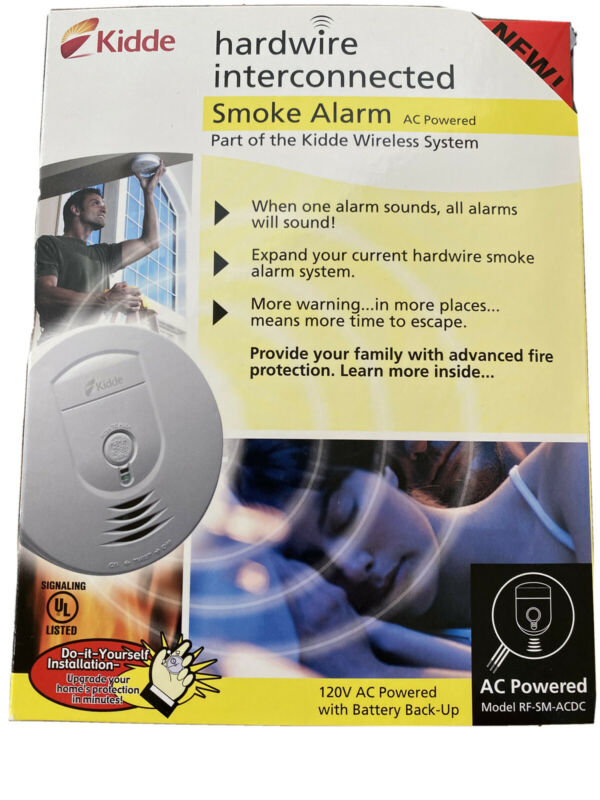 Kiddie RF-SM-ACDC Smoke Alarm Ionization Hard Wired Interconnected 120VAC - NEW