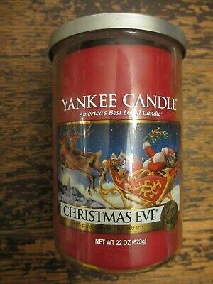 """YANKEE CANDLE CHRISTMAS EVE 22 oz USA 6"""" RARE SANTA LABEL 2 WICKS ORIGINAL 2015"""
