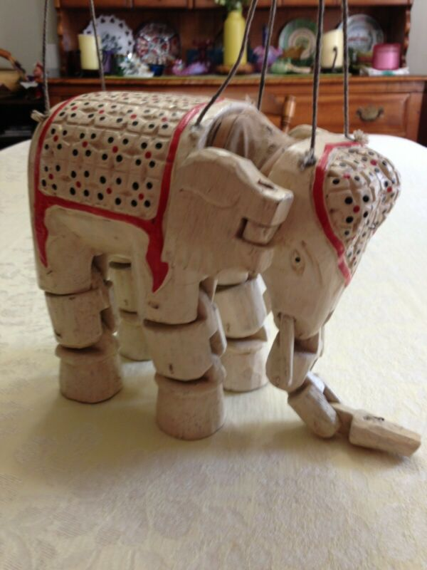 Vintage Hand Carved And Painted Elephant Marionette From Thailand