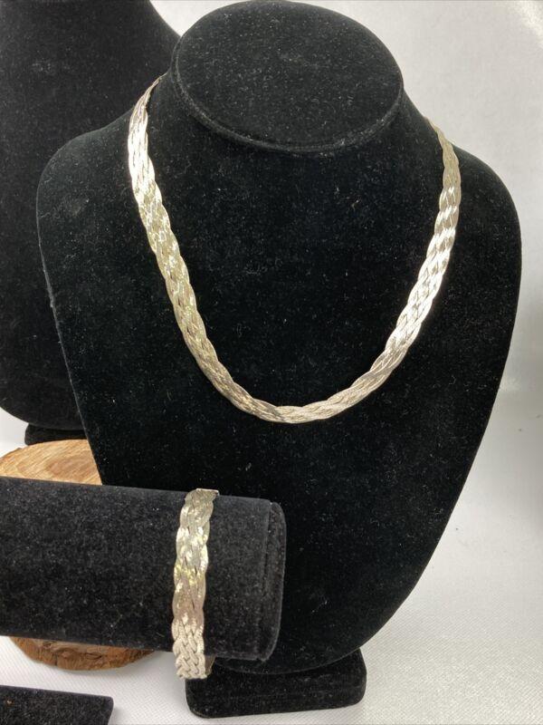 925 Italy Herringbone Twist Bracelet And Necklace Set