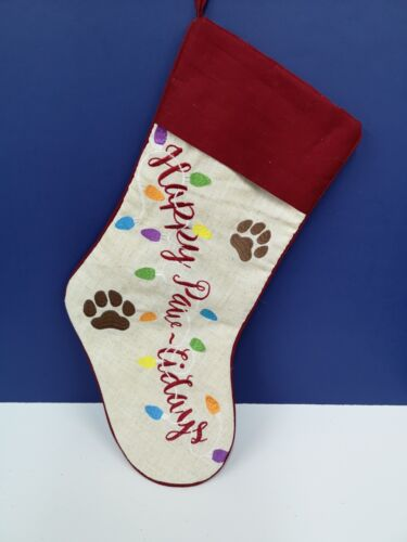 """20"""" Happy Pawlidays Stocking Red & White CHRISTMAS NEW Cat Dog Embroidered Wow!"""