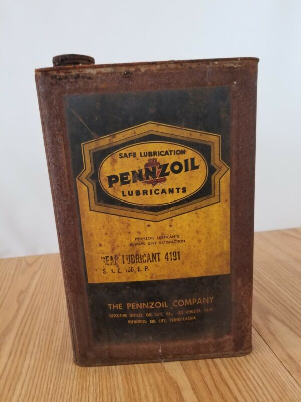 Vintage PENNZOIL 5 gallon gear lubricant motor oil can early version grease tin