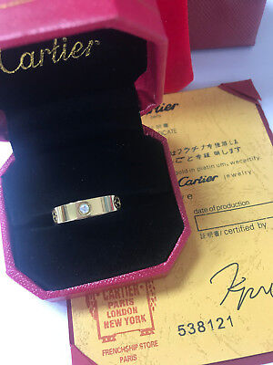 Cartier 18k Yellow Gold 3 Diamond Love Band Ring Size 8