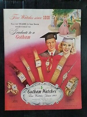 Vintage 1948 Gotham Graduation Watches - Original Full Page Color - Graduation Coloring Pages