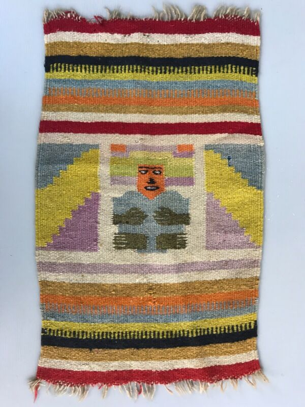 Vintage Native American Woven Blanket Pictorial Human Face 14 x 23