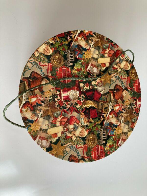 Large Round Christmas Hat Box Storage 13 Inch Diameter