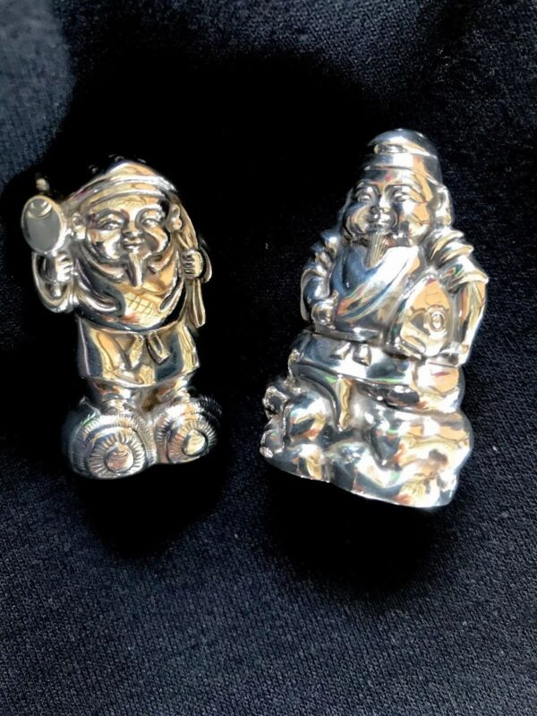 Vintage Sterling Silver 950 Buddha Salt and Pepper Shakers