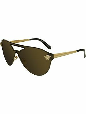 Versace Women's Mirrored VE2161-1002F9-42 Gold Shield Sunglasses