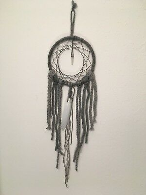 Grey Quartz Crystal White Feather Dream Catcher BoHo Wall Hanging Decor