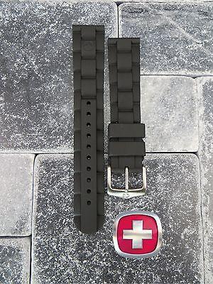Neu Wenger Swiss Militär Original Gummiband Schwarz Taucher Uhrenarmband 20mm