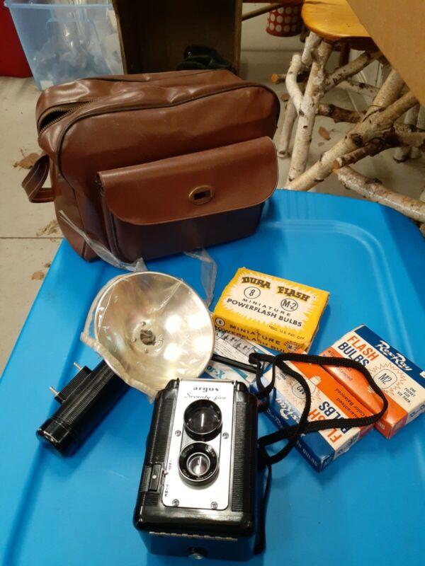 Antique Vintage Argus 75 Camera Flash Carry Bag Photography USA
