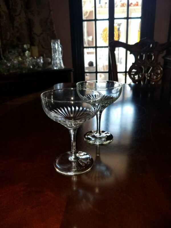 Pair LENOX Radiance champagne  Coupes vertical cuts 7 oz signe