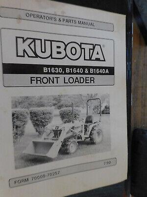 Kubota Front Loader Operator Parts Manual B1630b1640 B1640a