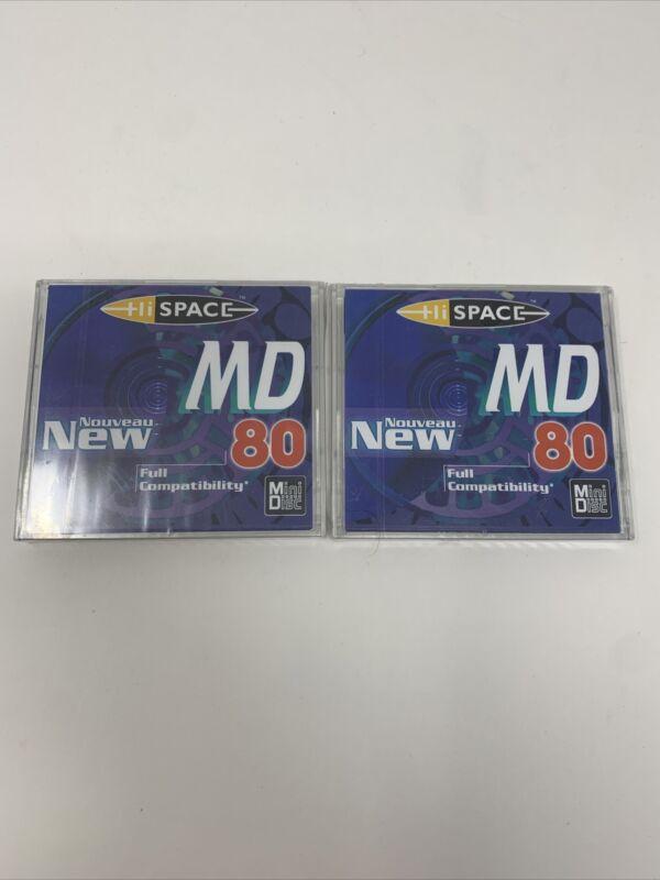 2 X Hi-Space MD MiniDisc 80min Blue- New Sealed