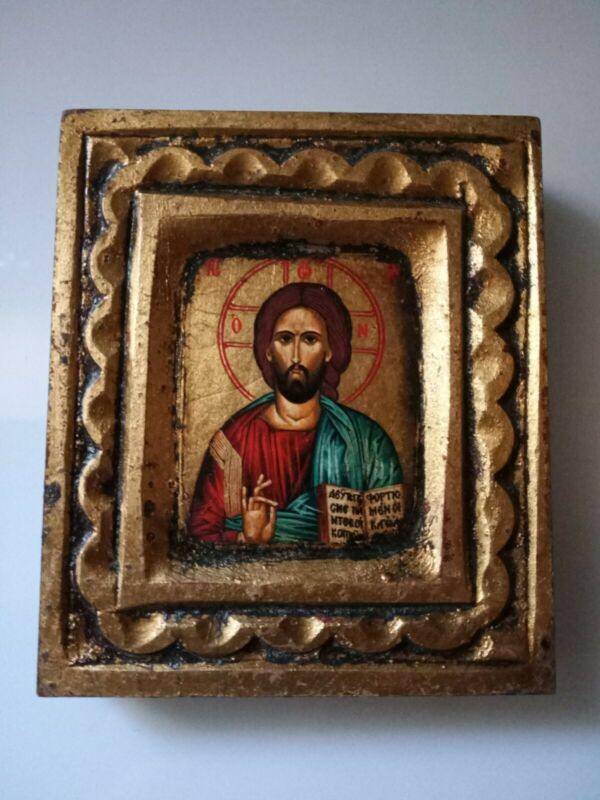 Handmade Mount Athos Icon Jesus Gold Painted Wood Certificate & Seal