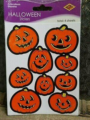 Vintage Halloween 36 JACK O' LANTERN JOL STICKERS 9 Designs Pumpkins Beistle - Halloween Pumpkin Lantern Designs
