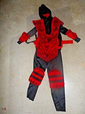 COMPLETE NINJA FIGHTER Halloween Costume Red  Boys Small 4-6x - Red Ninja Costumes