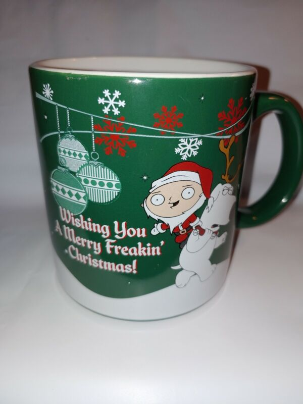 Family Guy Brian Stewie Griffin Merry Freakin Christmas Coffee Mug Large 20 oz